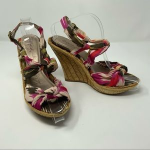 Qupid Cute Espadrille Wedges Sandals Pink Gray
